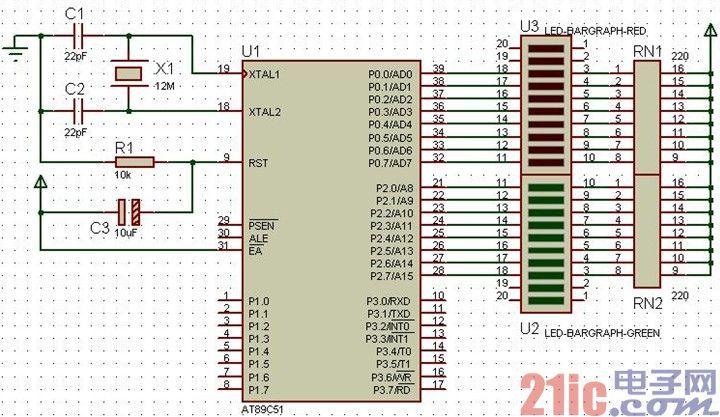 单片机C语言程序设计:TIMER0与TIMER1控制条形LED