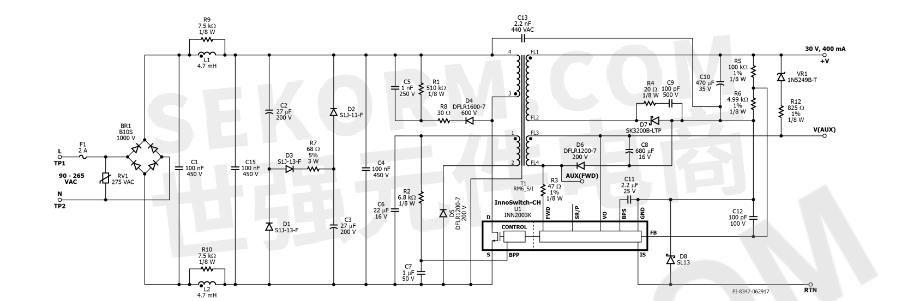 输入电压为90-265vac,输出电压最大为30v,输出电流典型值为400ma.