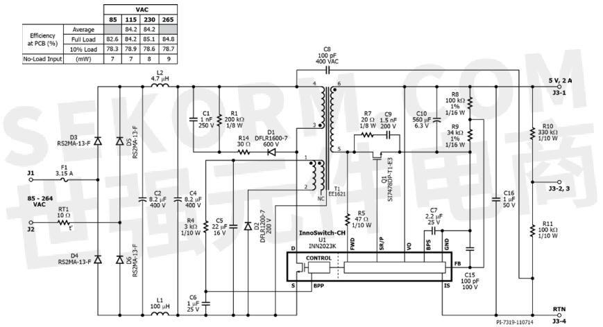 图2,10w恒压/恒流通用输入电源充电器原理图