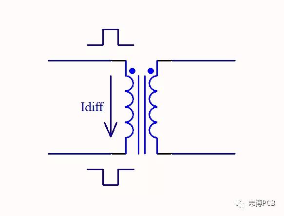 当差模信号经过隔离变压器时的信号流向
